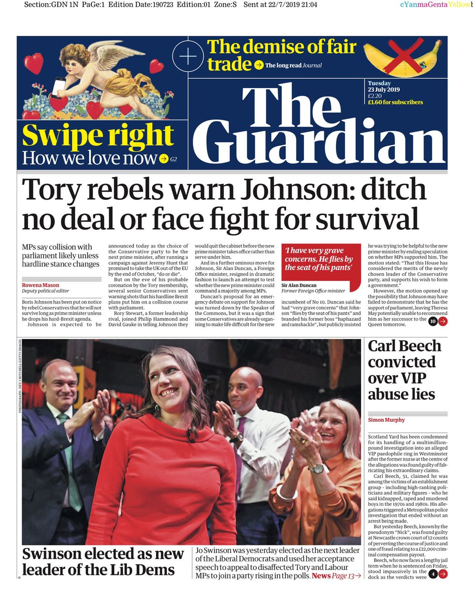 """Tuesday's Guardian: """"Tory rebels warn Johnson: ditch no deal or face fight for survival"""" #BBCPapers #tomorrowspaperstoday (via @Hendopolis)"""