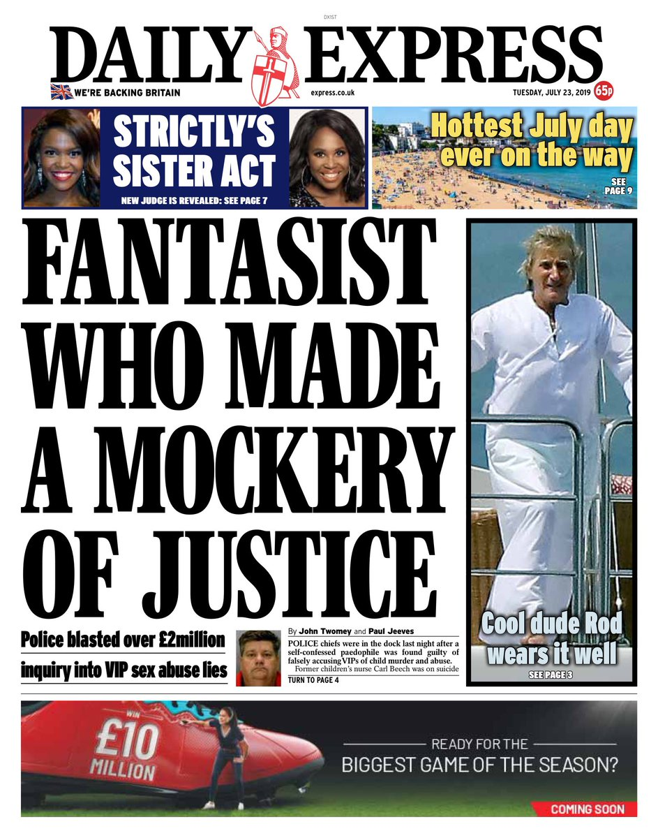 """Tuesday's Express: """"Fantasist who made a mockery of justice"""" #BBCPapers #tomorrowspaperstoday (via @Hendopolis)"""