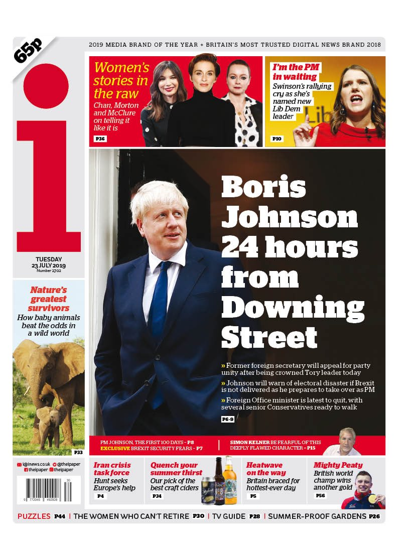 """Tuesday's i: """"Boris Johnson 24 hours from Downing Street"""" #BBCPapers #tomorrowspaperstoday (via @Hendopolis)"""