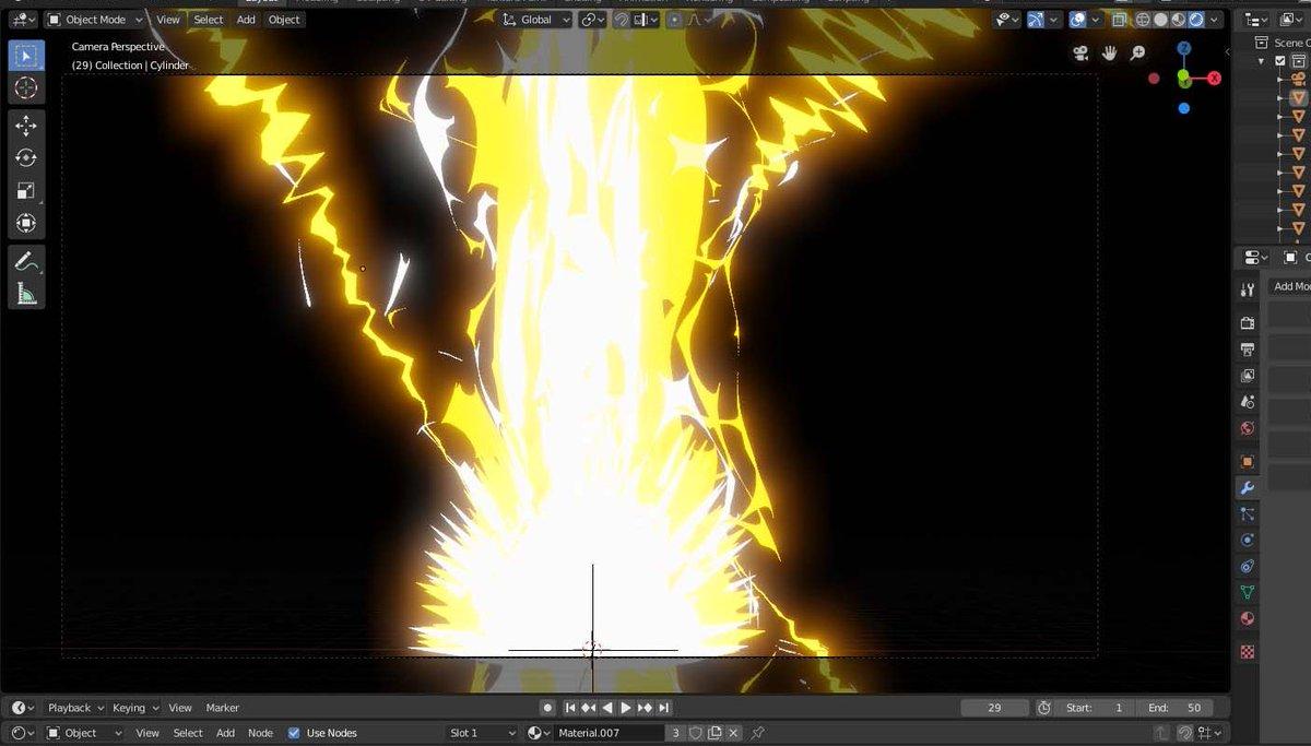 Currently testing some Anime style Lightning FX in Blender 2.8. #blender #b3d  #3dmodeling #Blender3d  #NPR #indiedev #VFX<br>http://pic.twitter.com/bf2IjZeRC9
