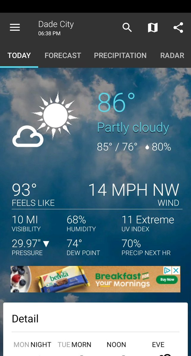 It's currently 86° F and partly cloudy in Dade City  From  1Weather http://1weatherapp.com