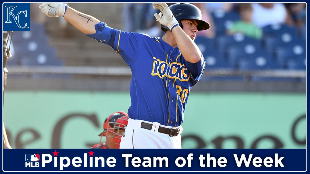 After notching hits in all 6 games and multiple hits in 4 of those, #Royals No. 5 prospect Nick Pratto makes the Team of the Week: https://atmlb.com/2YdWPHi