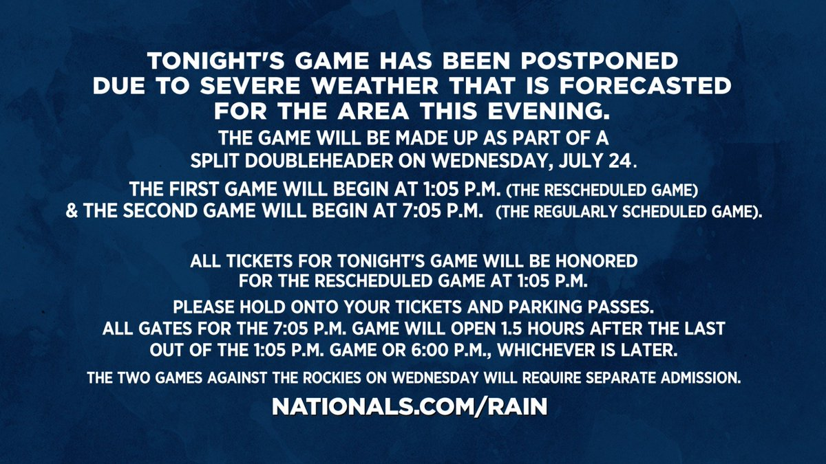 Tonight's #Nats-Rockies game has been postponed due to severe weather that is forecasted for the area this evening.Please check http://Nationals.com/Rain  for more details.