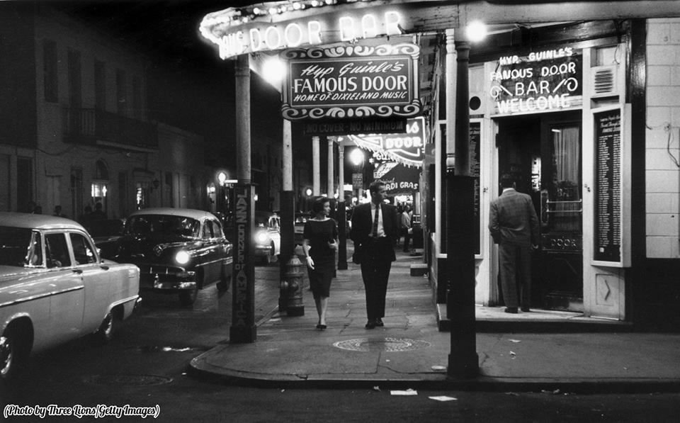 The entrance to the 'Famous Door Bar' Dixieland jazz club in the French quarter of New Orleans, circa 1955.