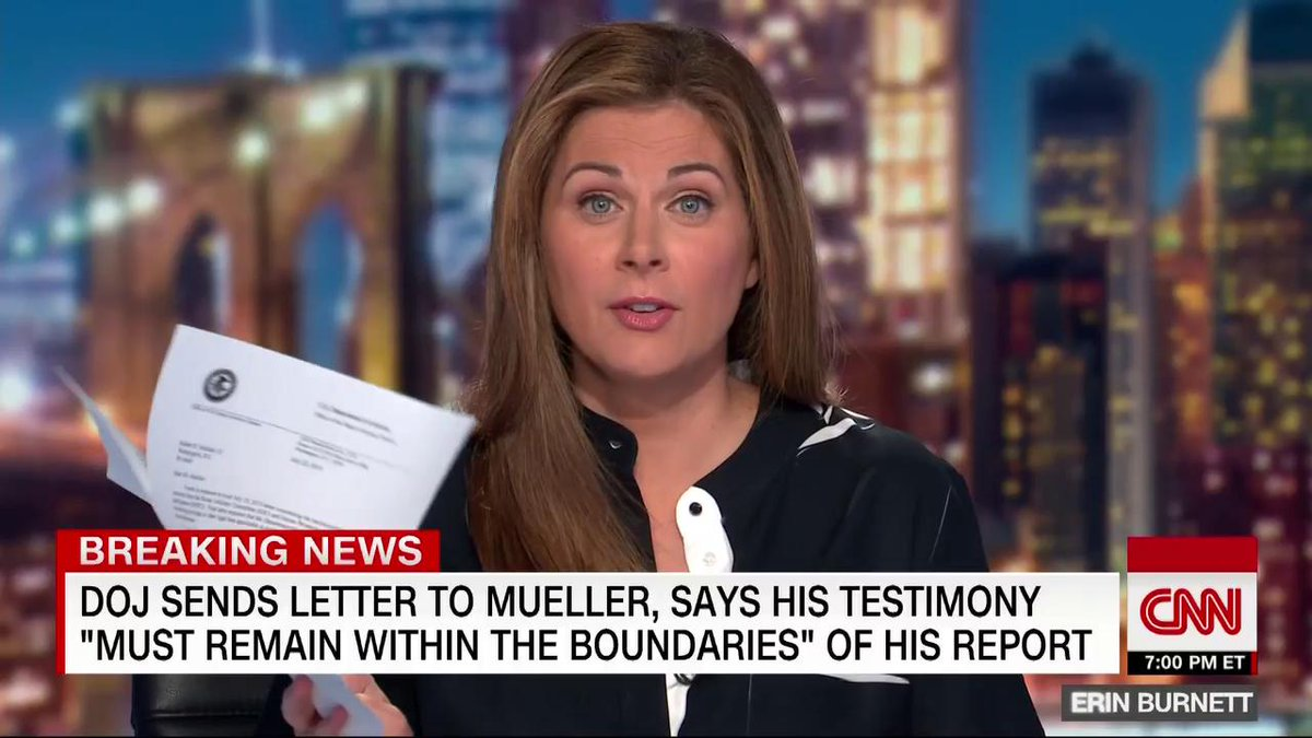 "This letter says, 'stay in your lane, buddy.""CNN's @ErinBurnett discusses the tension around Robert Mueller's testimony before Congress as the Department of Justice sends a letter to Mueller, warning him to ""remain within the boundaries."" http://cnn.it/2Y37ARy"