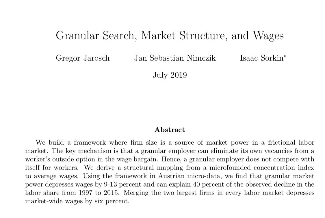 The paper that I found myself thinking the most about today at NBER SI. I think it's a very interesting -though limited in some important ways - approach to understand sources labor market power. sites.google.com/site/isaacsork…
