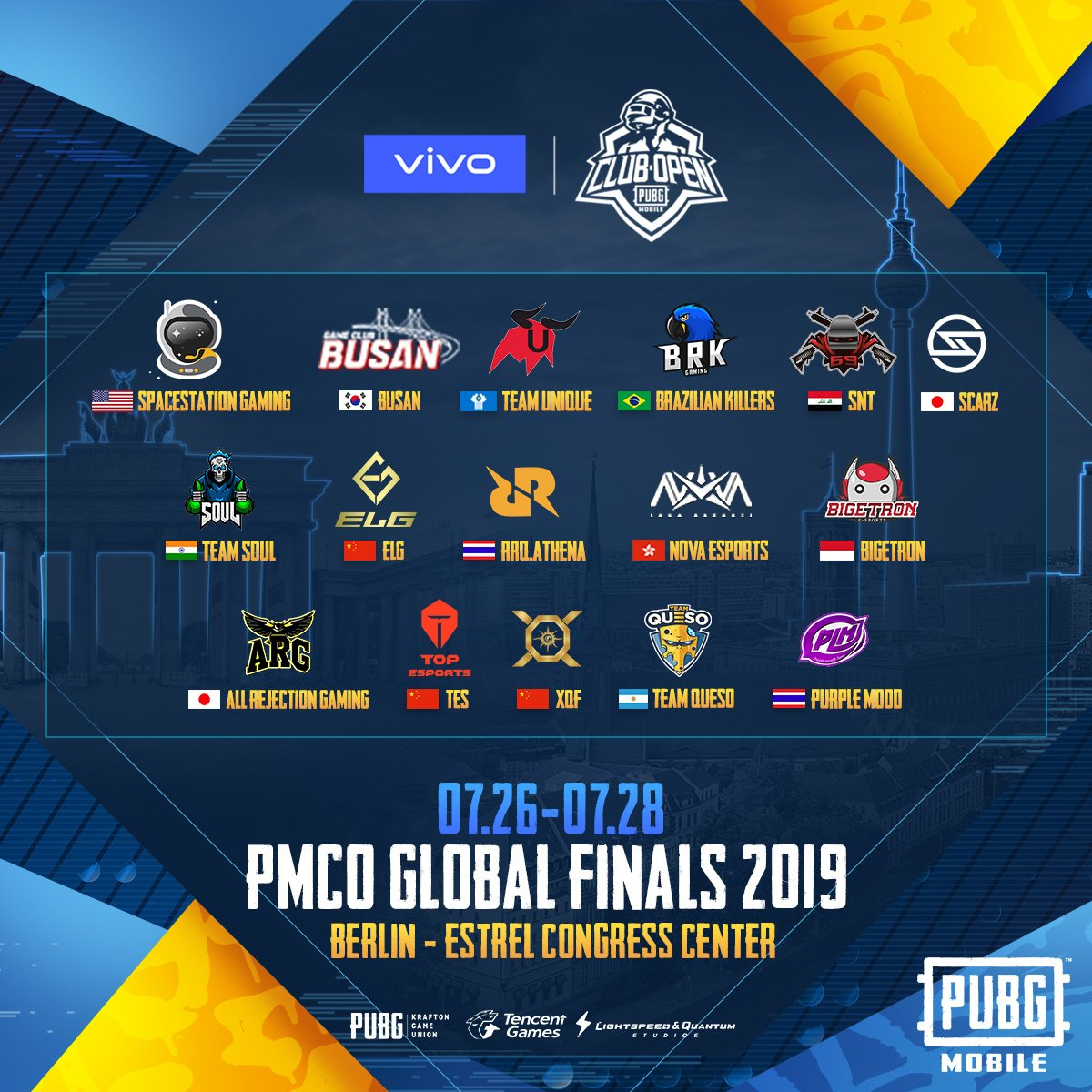 Congrats to Purple Mood, XQF, TES, Team Queso, and All Rejection Gaming who triumphed in the Prelims! Here is the final 16 team list who will be competing in the #PMCO GLOBAL FINALS, sponsored by Vivo.<br>http://pic.twitter.com/INvP9WYgeW