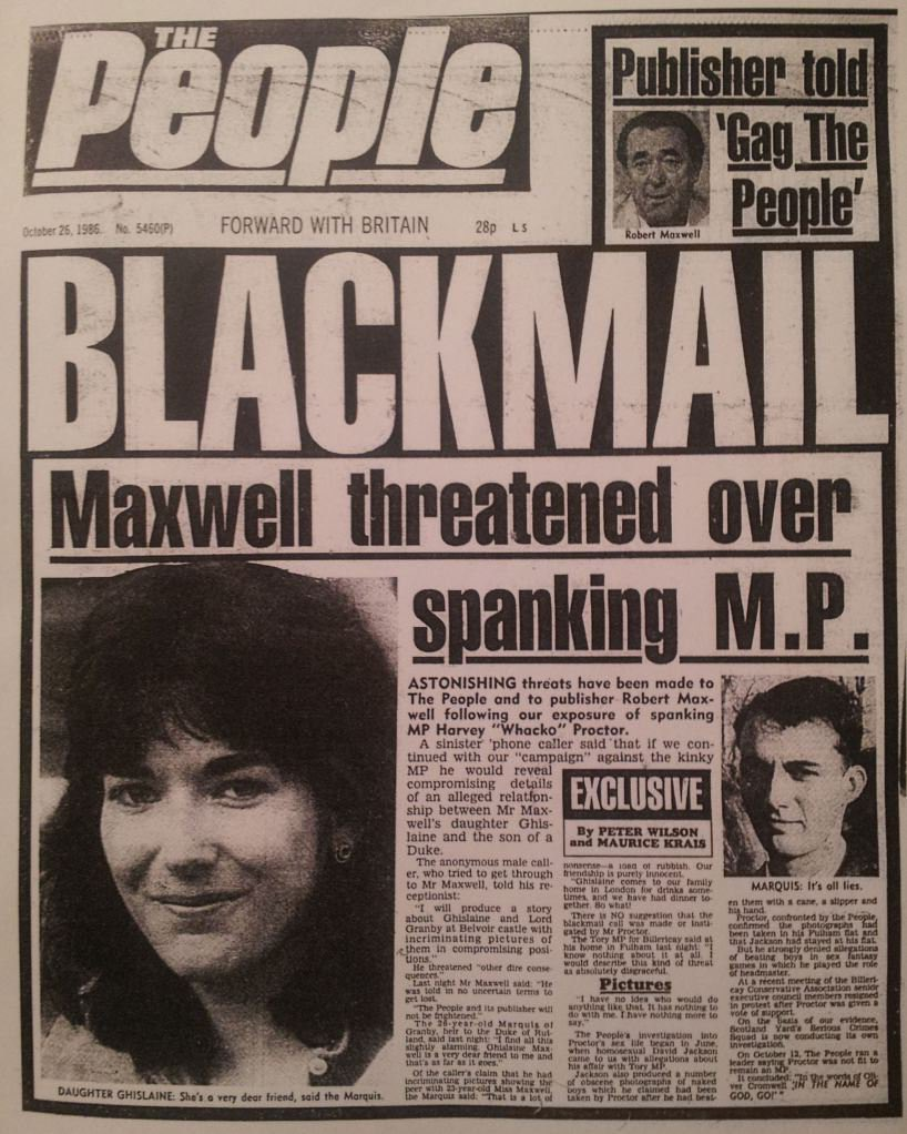 Turns out Ghilsine Maxwell, #Epstein's Mossad associate has been sexually blackmailing politicians since she was 23 years old. Seems her dear old dad pimped out his own daughter.