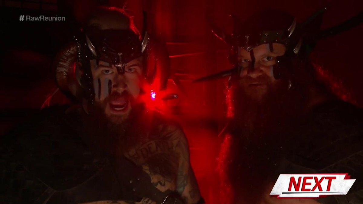 UP NEXT: @Erik_WWE & @Ivar_WWE continue to carve a path of destruction through #Raw's tag team division on #RawReunion! #VikingRaiders