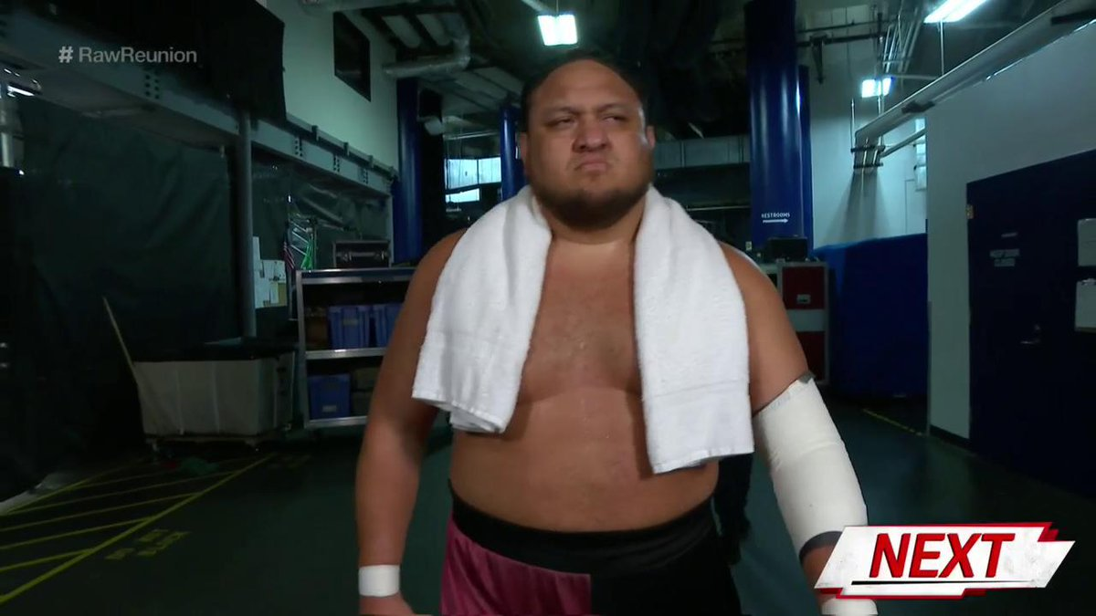UP NEXT: @SamoaJoe is making his way to the ring, and boy, does he have a look on HIS face... #RawReunion