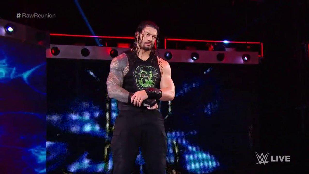 It seems @SamoaJoe's been trespassing in HIS yard...@WWERomanReigns is LIVE on #RawReunion!