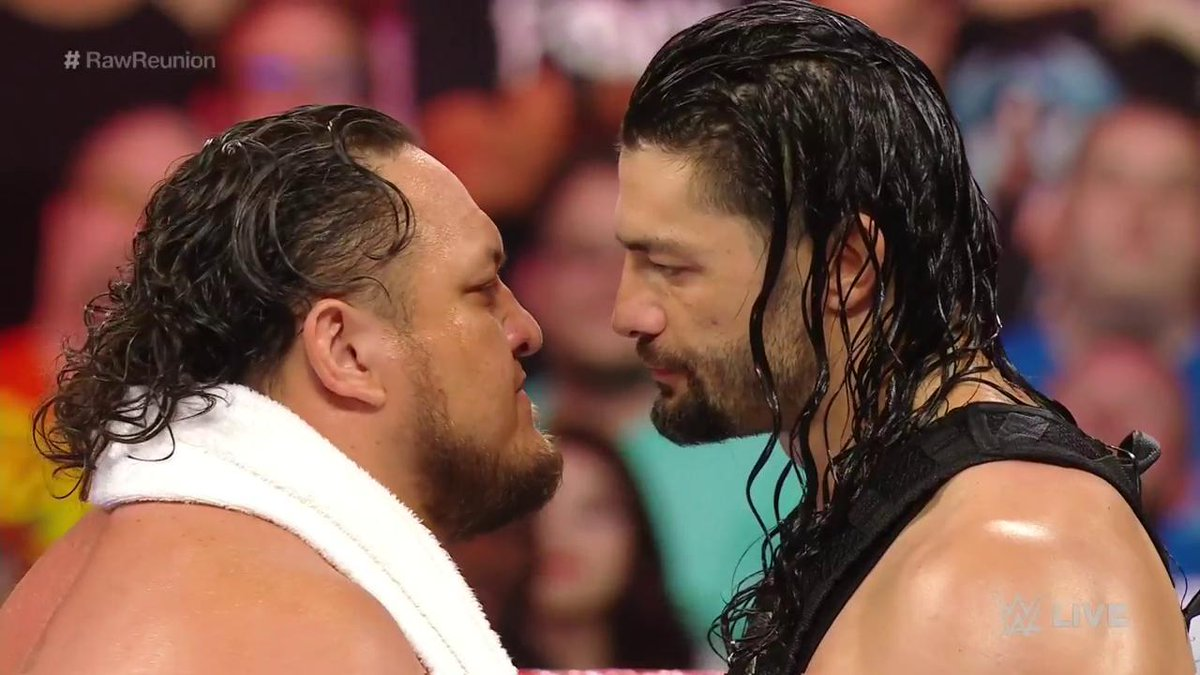 Say something about @WWERomanReigns' family? Expect a fight.#RawReunion @SamoaJoe