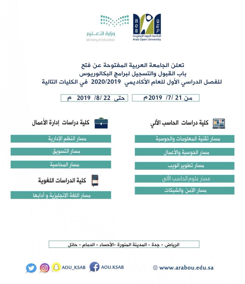 الجامعة العربية المفتوحة On Twitter عزيزي المتقدم عزيزتي
