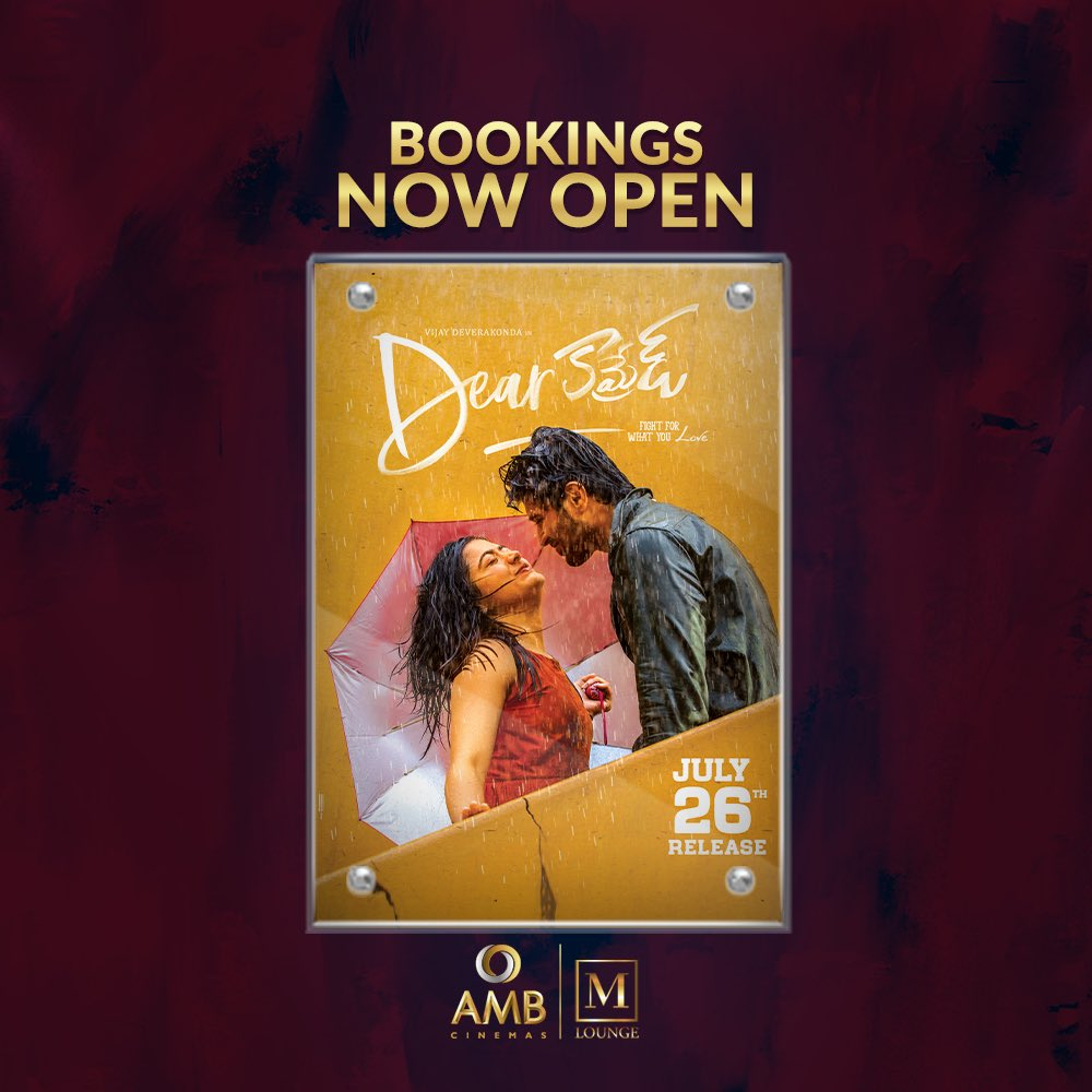 Tag that #DearComrade with whom you'll be watching the movie FDFS?  Use Comrade while tagging him in your comments!   Book yout tickets now!  http://bit.ly/AMBbookings