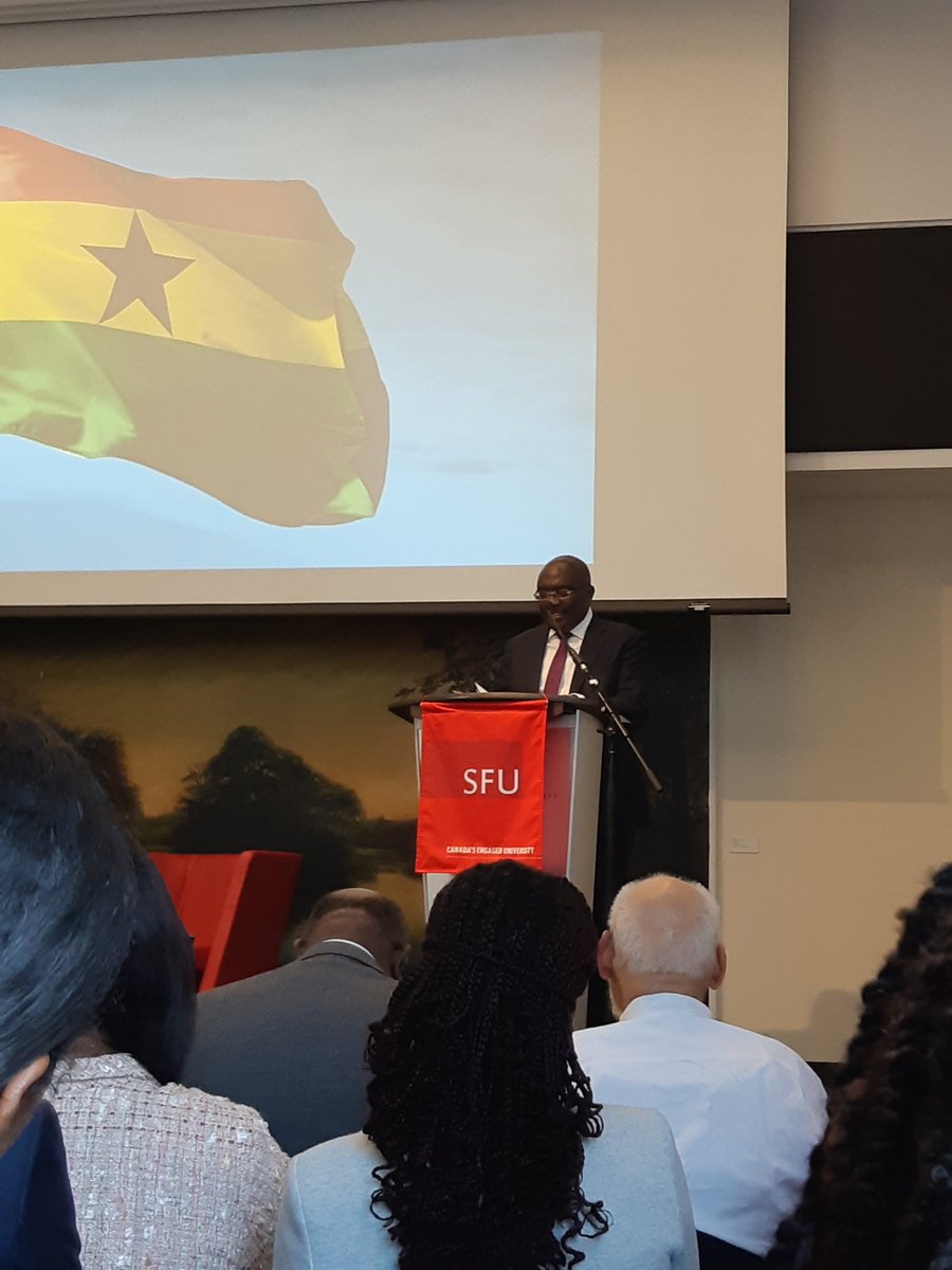 Packed lecture featuring H.E Vice President of Ghana, who happens 2 be a former @SFU alumni. He spoke of inclusive digitization, equitable governance and supporting Ghanaian agriculture sector. #inspired