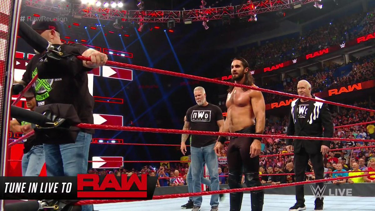 Seth has been waiting his entire life to do this.........im jealous.#WWE #RAWReunion