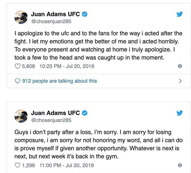 """Juan Adams has apologized for storming out the Octagon after his loss to Greg Hardy Saturday night. Taking to Twitter, the Dana White's Contender Series signee admitted """"I let my emotions get the better of me and i acted horribly."""" . . After the f… https://ift.tt/2M7wvMq"""