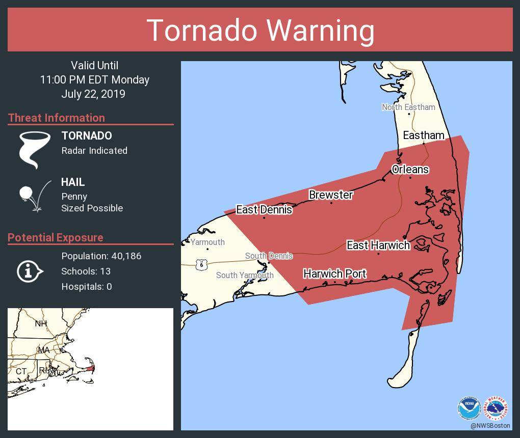 Tornado Warning including East Harwich MA, East Dennis MA, Dennis MA until 11:00 PM EDT <br>http://pic.twitter.com/jO7QJv6yCw