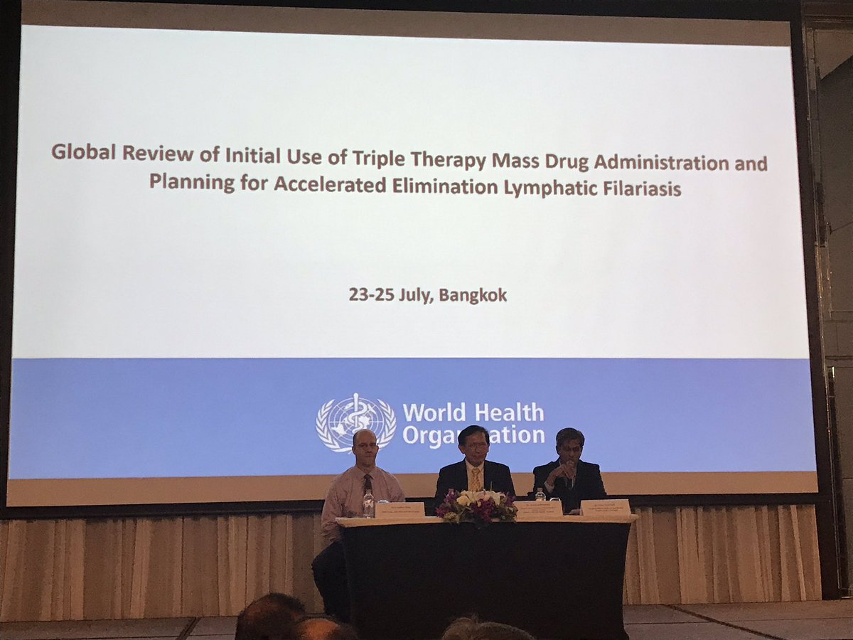 Accelerating elimination of lymphatic filariasis by implementing triple therapy mass drug administration: global review,sharing best pratices and planning meeting #IDAmeeting, #UHC,#WHO,@AKrentel @mwelentuli @NTDworld – at The Lancaster Bangkok