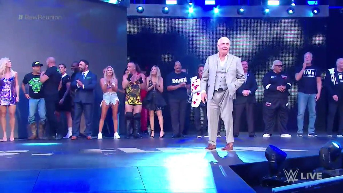SO. MANY. LEGENDS.@RicFlairNatrBoy is leading the pack! #RawReunion