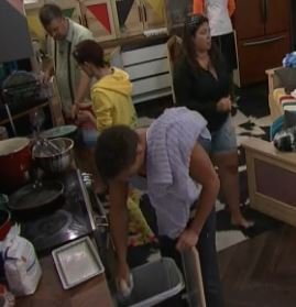 Here's Jackjaw throwing out the remains of whatever he was cheat eating in the shower..He pulled it out of his pants pocket #BB21<br>http://pic.twitter.com/YQR23SURHG