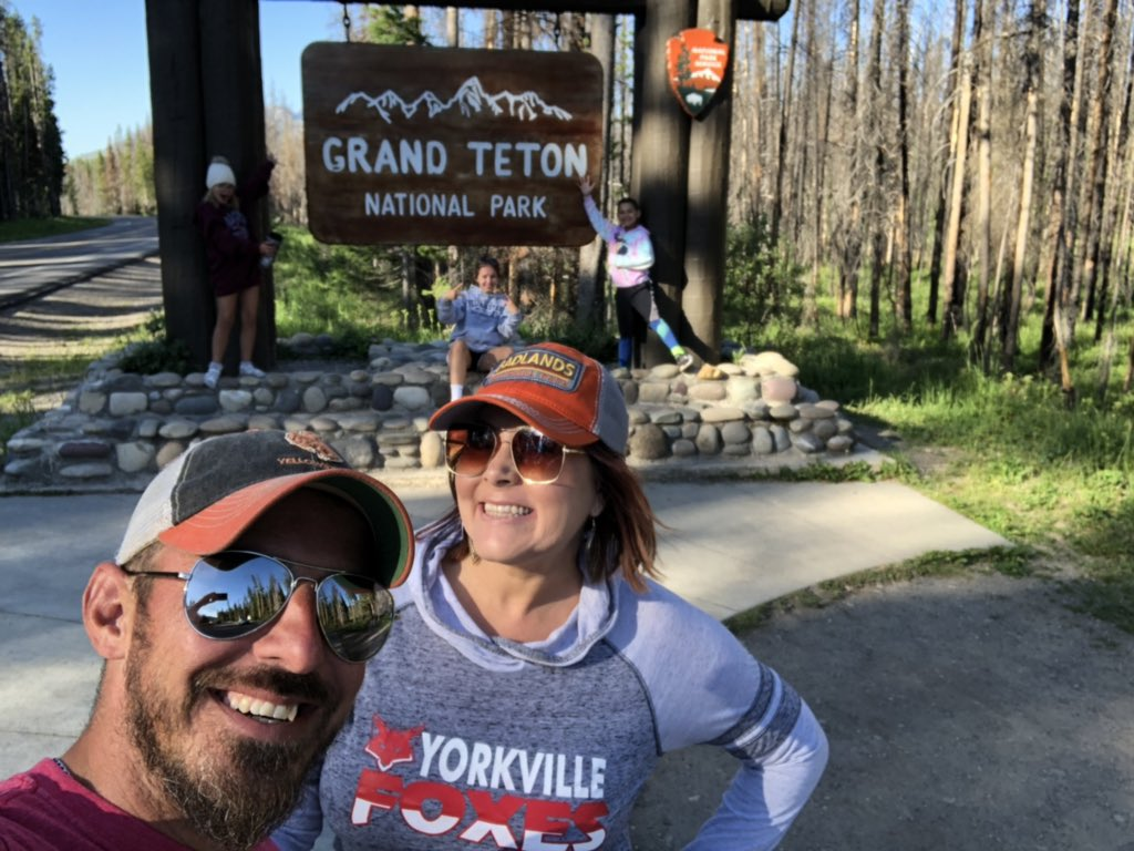 Adventuring through @GrandTetonNPS with lunch in front of Mt. Teewinot, swimming at Colter Bay by the Tetons, and moose discoveries along Wilson Road! 💚  #representin #YorkvilleFoxLove #adventure #wildlife #nationalparks #lifeisbetterinapark #findyourpark #roadtrip #rechargeYMS