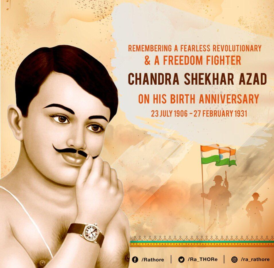 Remembering #ChandrashekharAzad on his birth anniversary. A fearless revolutionary freedom fighter. <br>http://pic.twitter.com/RvFK9vGkm0