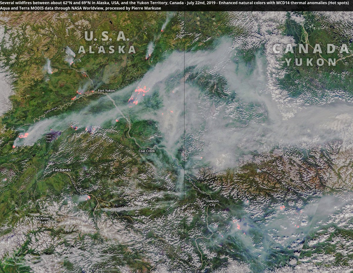 Several wildfires🔥 between about 62°N and 69°N in #Alaska, #USA🇺🇸, and the #YukonTerritory, #Canada🇨🇦 22 July 2019. Aqua/Terra MODIS data through NASA Worldview, processed by Pierre Markuse.