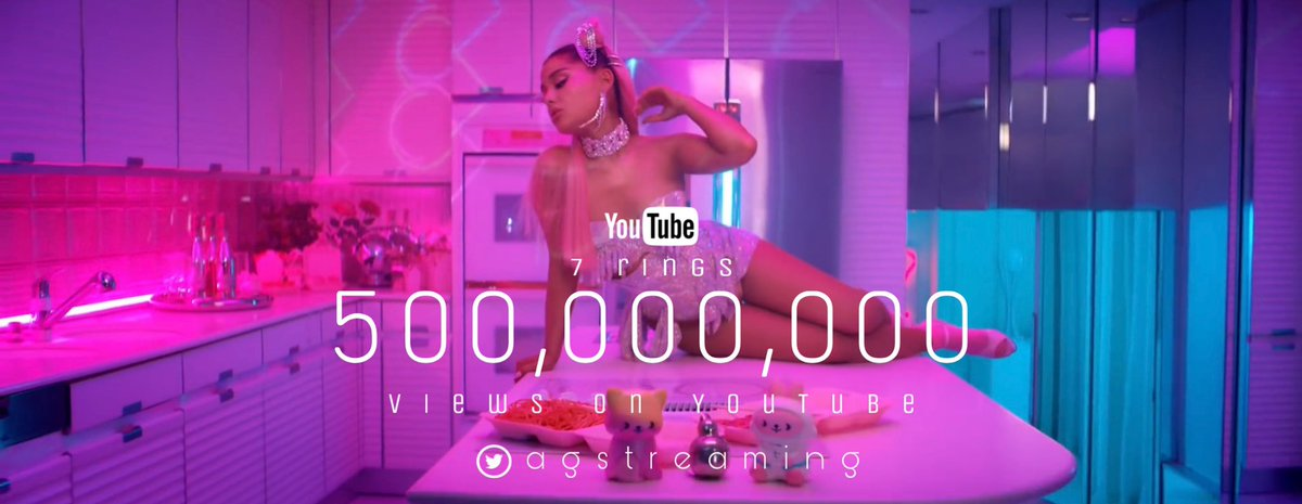 ".@ArianaGrande's ""7 rings"" music video has surpassed 500 MILLION views on YouTube. It is her 10th music video to do so. <br>http://pic.twitter.com/hVrl56VN46"