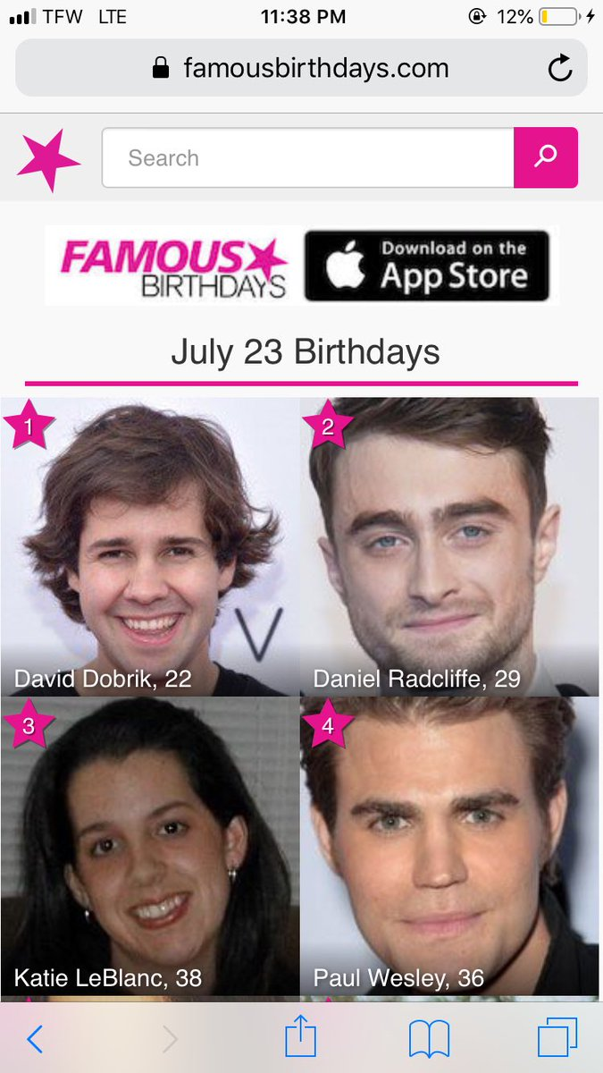 famousbirthdays hashtag on Twitter