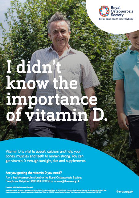 """""""I didn't know the importance of vitamin D.""""  Get your copy of the poster, and help raise awareness of osteoporosis and our charity >>   https://theros.org.uk/how-you-can-help/raise-awareness/awareness-and-signposting-materials/…  Where will you hang yours?  #Osteoporosis #BoneHealth #VitaminD"""