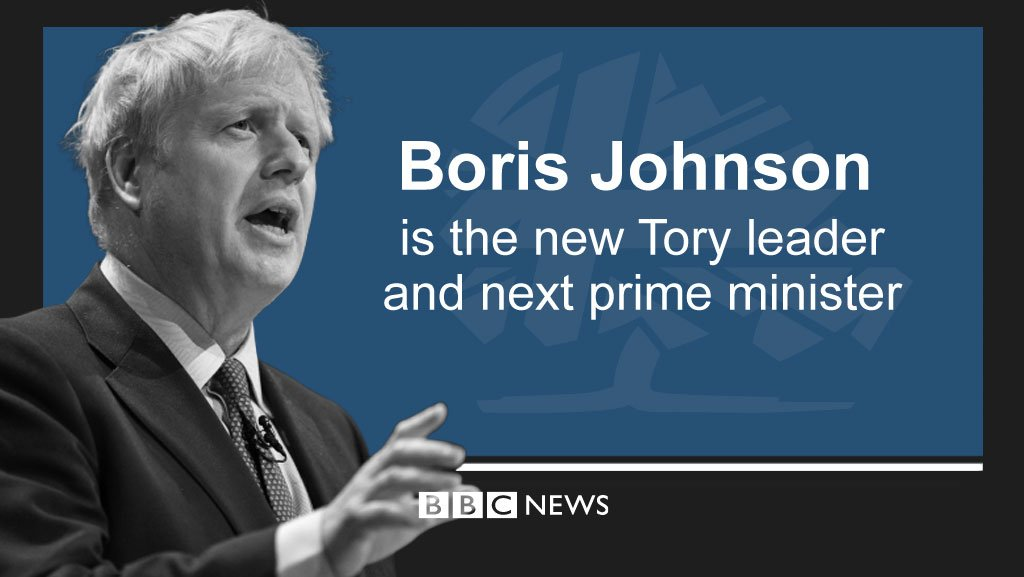 Boris Johnson wins race to be Tory leader and the UK's next prime minister  http://bbc.in/32NmQjS #NextPrimeMinister