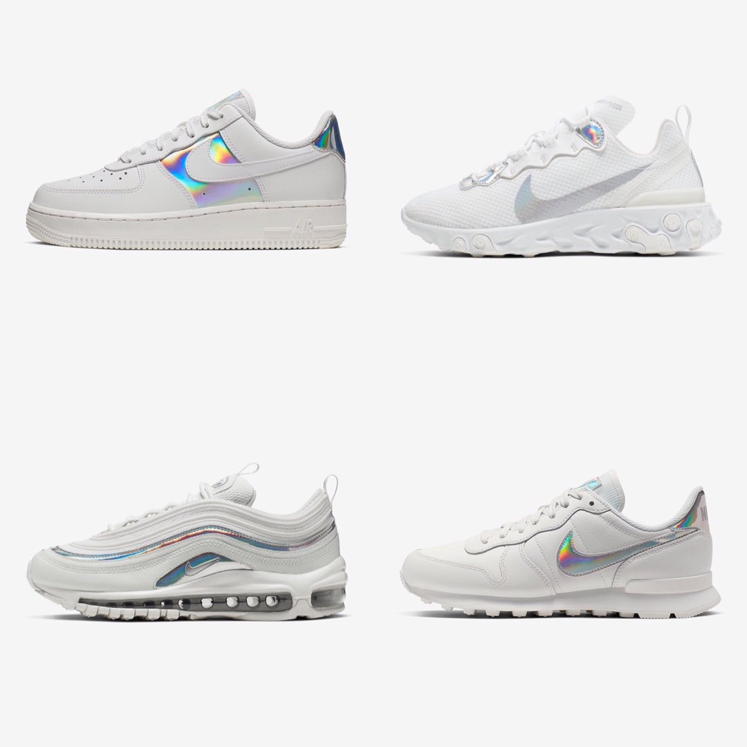 Nike White Iridescent Pack Air Max 97 Air Force 1 React