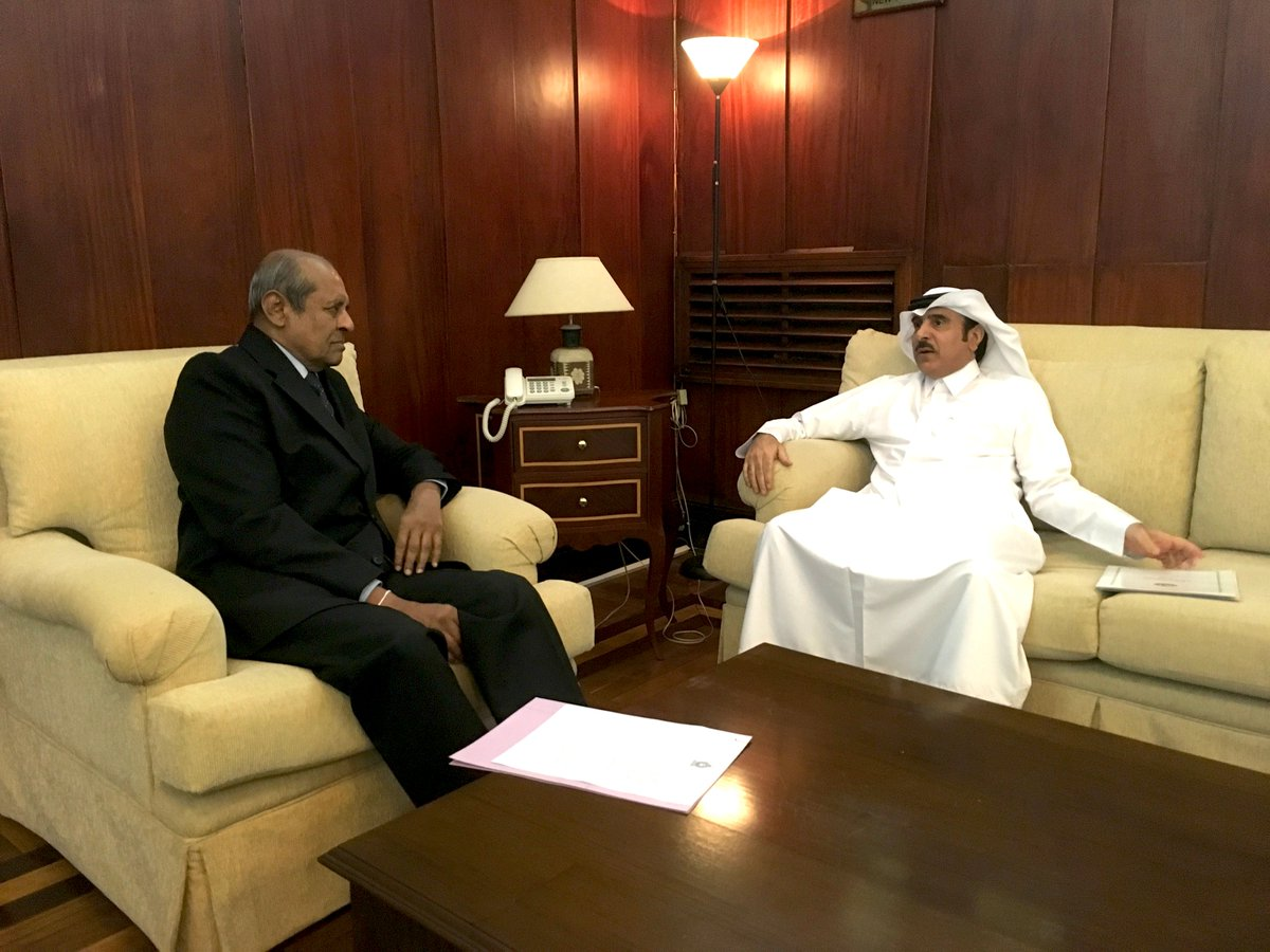 HE the Ambassador Dr.Rashid Bin Shafea Al Marri met with Hon. Tilak Marapana Minister of Foreign Affairs of Sri Lanka today, and discussed the matters related to the bilateral relations between the two countries. (23/07/2019)
