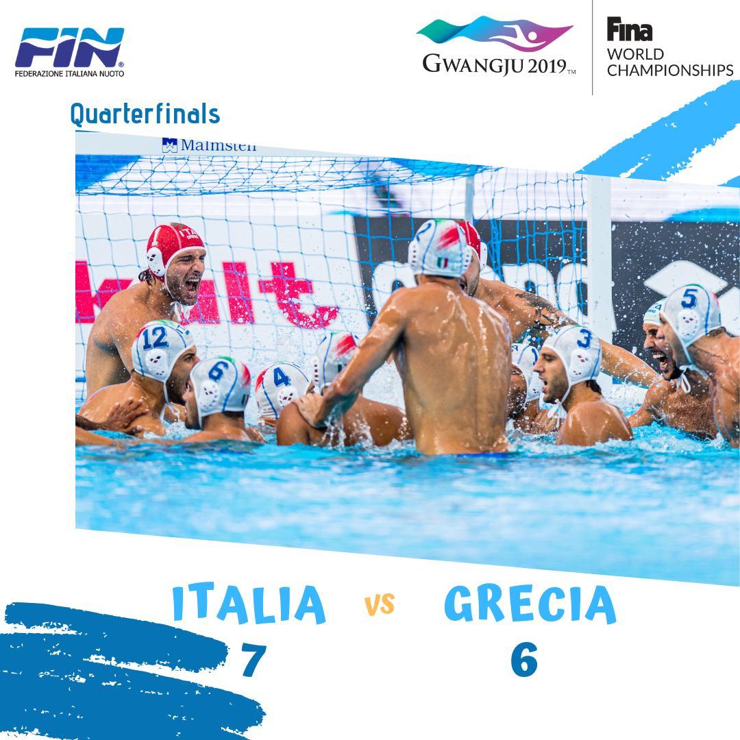 Il #7BELLO mette il ❤️ oltre la Grecia e vola in SEMIFINALE a caccia della medaglia e pass olimpico!! https://t.co/V7krID7c04 . . #avanticosi #azzurri #pallanuoto #roadto #gwangju2019 #finagwangju2019 #waterpolo https://t.co/qceSflfbgc
