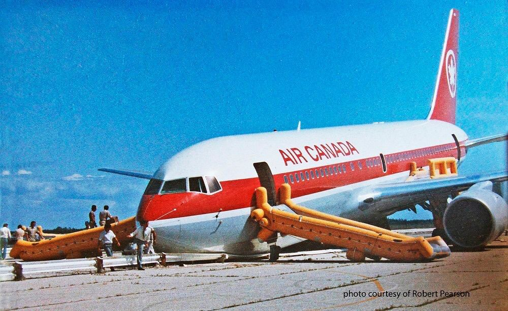 #OTD in 1983, Air Canada Flight 143 (C-GAUN) Boeing 767-233 successfully landed at Gimli Industrial Park Airport after running out of fuel due to a miscalculation. This incident earned the aircraft the nickname Gimli Glider.