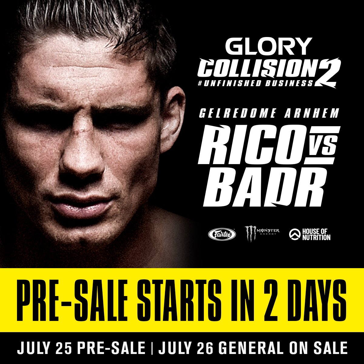 RT: GLORY_WS The #COLLISION2 pre-sale is LIVE in two days! Register at http://glorykickboxing.com