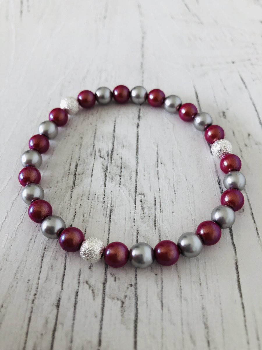 Iridescent red and silver glass pearl beaded handmade stretch bracelet on my Folksy shop now! #folksy #handmade   http://folksy.com/items/7280522-Iridescent-red-and-silver-glass-pearl-beaded-handmade-stretch-bracelet- … #newonfolksy