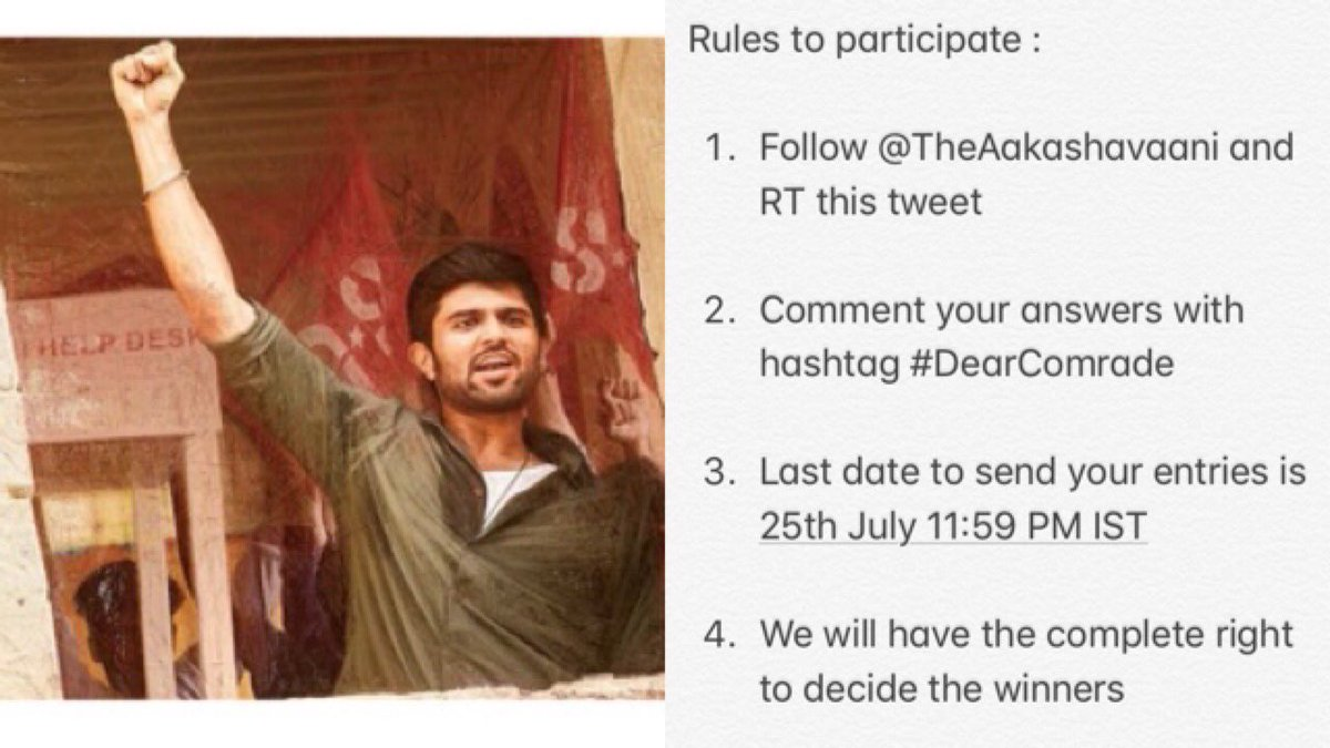 #DearComrade : Answer and stand a chance to win ₹500. Two winners will get ₹500 cash each  👉 Who is the director of the movie?  👉What is @TheDeverakonda and @iamRashmika character names in the movie  👉Who is the music director of the movie?   Rules to participate as below..