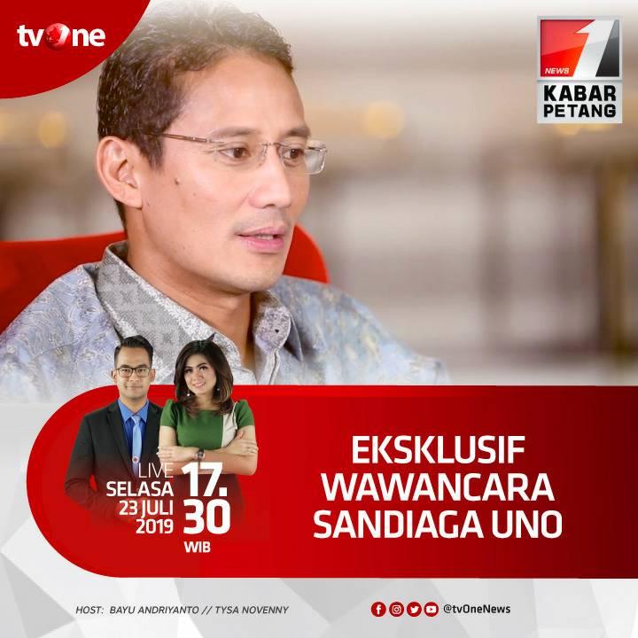 Ekslusif Wawancara Sandiaga Uno.Saksikan Kabar Petang bersama Bayu dan Tysa jam 17.30 WIB hanya di tvOne & streaming di tvOne connect, android http://bit.ly/2CMmL5z  & ios http://apple.co/2Q00Mfc #KabarPetangtvOne