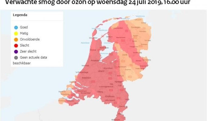 In heel Nederland kans op smog door ozon https://t.co/zLzfLrSdCw https://t.co/xs3W1ybQ9h