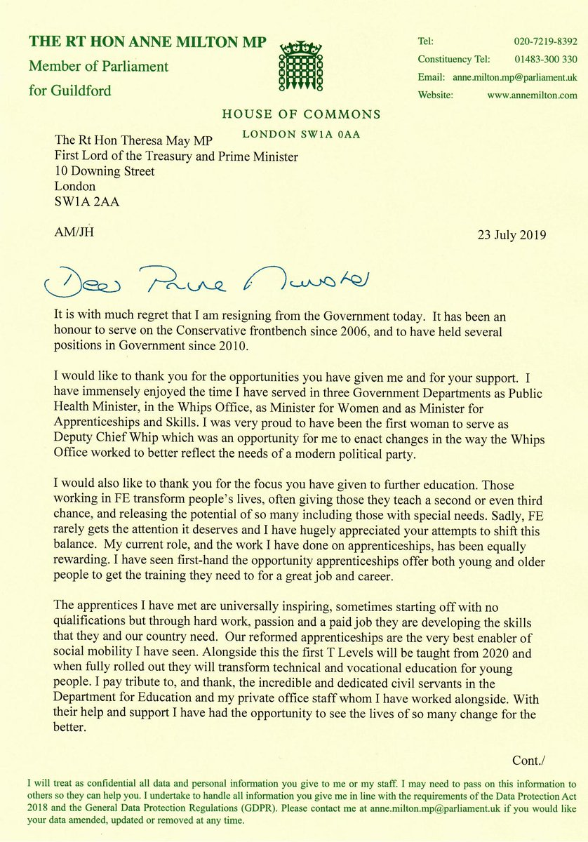 Having abstained in the vote last week, today I have resigned from the Government. It has been an honour to serve on the Conservative frontbenches, my thanks to everyone I have had the pleasure of working alongside.