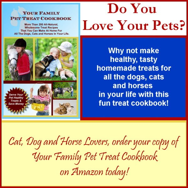 More than 200 Dog, Cat & Horse treat recipes that are healthy, easy to make & your pets will love you for them! When you R making cookies, why not make some for your pets too? #catlovers #treats #pony #KidsDeserveIt #doglovers #Cookbook #dogtreats https://www.amazon.com/Your-Family-Pet-Treat-Cookbook/dp/1539036065…