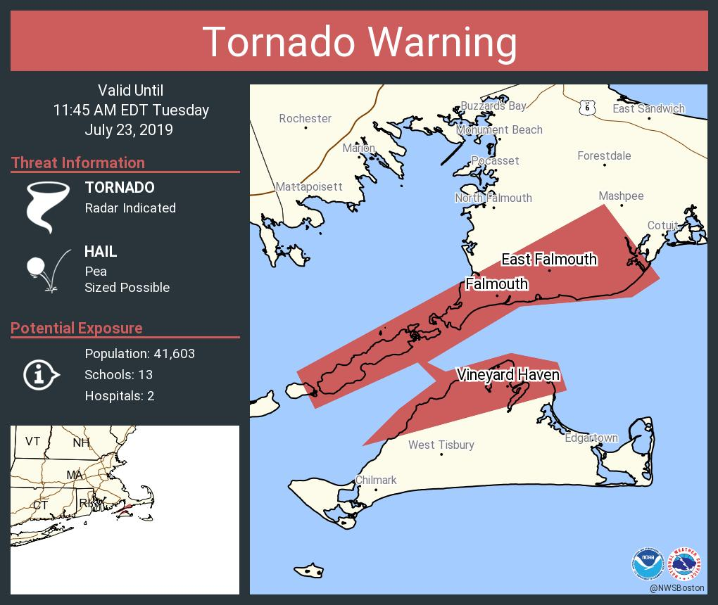 RT @NWStornado: Tornado Warning including East Falmouth MA, Falmouth MA, Vineyard Haven MA until 11:45 AM EDT https://t.co/AyRtfW5pbY