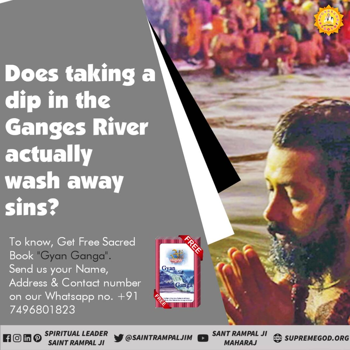 "#LordShiva  #Haridwar  Taking Holy dip in Ganga is not really right way of worship. get free book ""Gyan Ganga"" and know the reason. And watch Ishwar channel 8 :30pm"