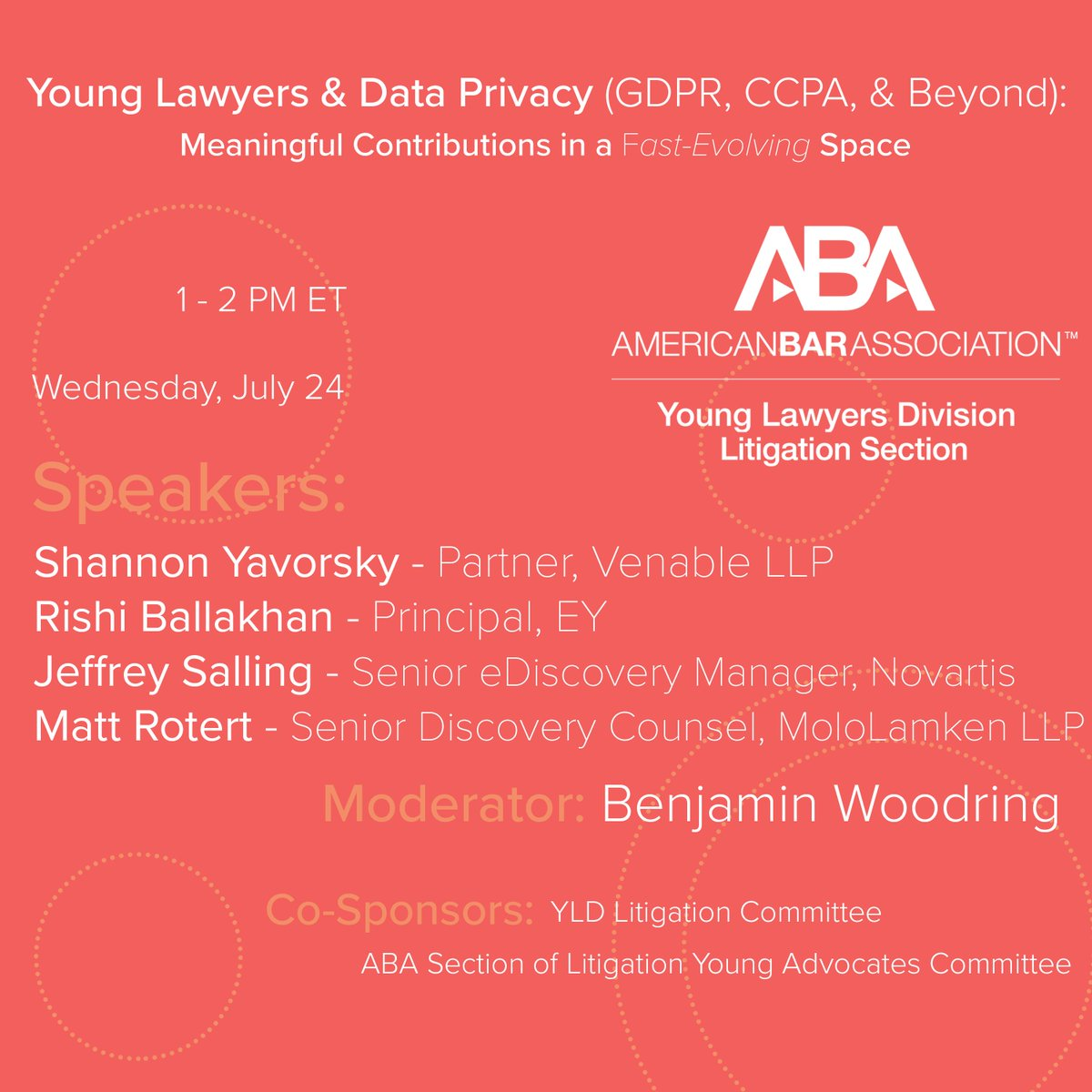 66efa01a4a7 ... Young Lawyers and Data Privacy (GDPR, CCPA, and Beyond): Meaningful  Contributions in a Fast-Evolving Space, 7/24 at 1 pm  http://bit.ly/DataPrivacy724 ...