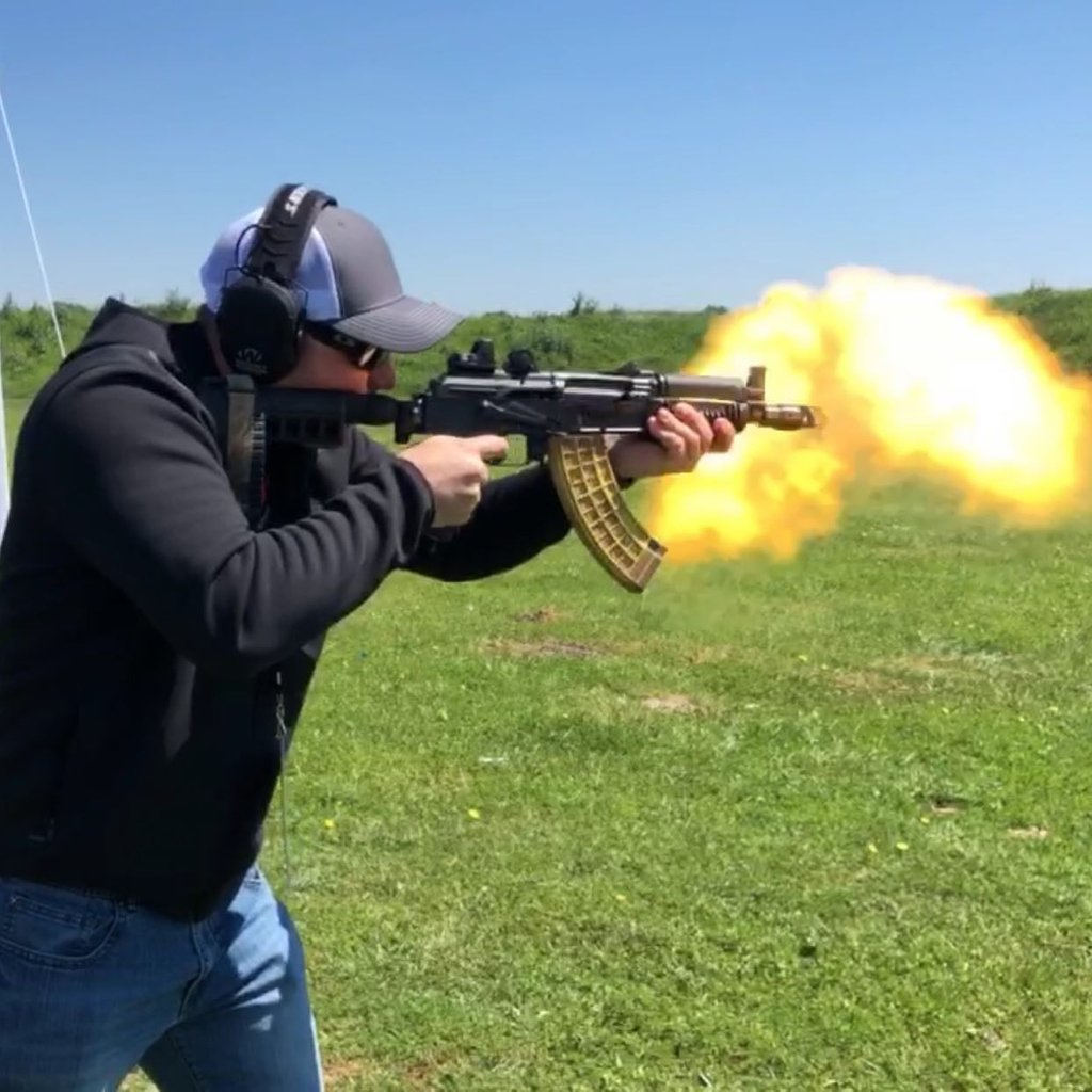 What is your favorite muzzle device? This one is from us on a SAM7k-44.  Gotta love the @xtechtactical rotten banana mag!!! 🔥 📷 @thegunpointblog #gunshooting #gunlife #kalashlife #ak47 #pewpew #pewpewlife #magdump #funwithguns #2a #arsenalak #arsenalinc