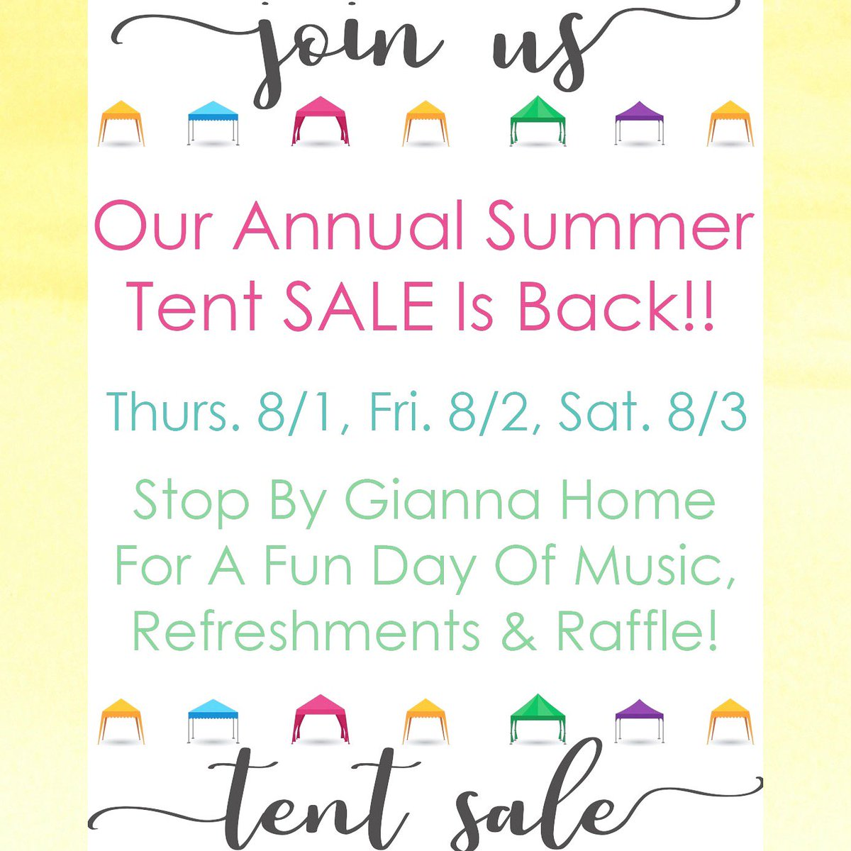 ✨You're Invited✨ #joinus for our annual #summer #tentsale ☀️ #amazing #deals on our selected #furniture & #decor 🛋 Also, stop by & #view our #new Talk Of The Town items & #meet the #creators of #tott on #saturday Aug. 3rd!!  . . . #sale #gift #gifts #august #boutique #store