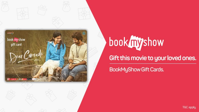 Know a buddy who is awaiting #DearComrade more than any other film? Here's an exclusive gift #BookMyShow card that will truly make his/her day.  Know more: http://bookmy.show/DearComradeGC   @TheDeverakonda @iamRashmika