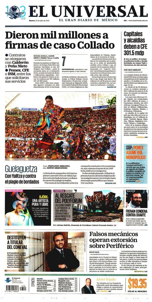 #Las8Columnas #ElUniversal: Dieron mil millones a firmas de caso Collado